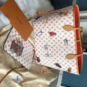 LV limited cat neverfull bag Middle Size